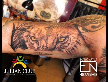 Tattoo  Tattoos  Lion  Arm  Biceps  Realism  Cat  Erkan  Nehir  Marmaris Black Grey Arm
