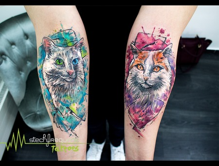 Abstract  Cats  Watercolor Color Arm
