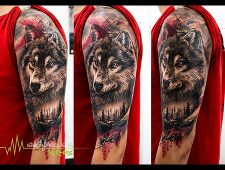 Wolf  Forest  Realstic  Trash Polka Black Grey Forearm