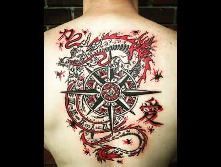 Compass Tattoo  Dragon Tattoo  Abstract Tattoo  Illustrative Inksplatter Color Back