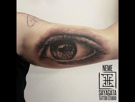 Realistic Eye Black Grey Arm