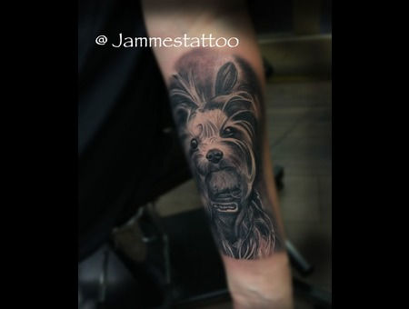 Realistic  Tattoo Black Grey Forearm