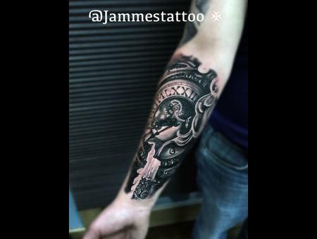 Black&Grey  Realistic T Black Grey Forearm