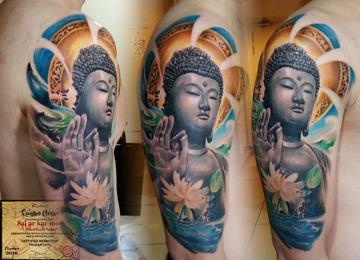 Buddha,  morden art, flowers, realisitic, lotus, watercolour, asian