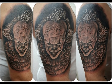 Pennywise  Coverup  Portrait  Realistic  Blackandgrey Black Grey Arm