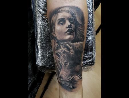 Realistic Portrait Black Grey Forearm