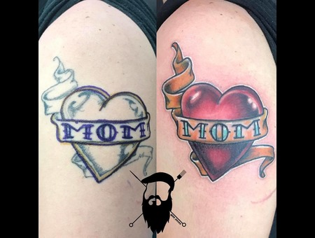 Cover Up  Heart  Mom  Color  Neo Traditional Color Arm