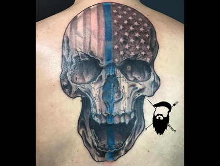 Skull  Realism  Thin Blue Line  Cops  American  Flag  Backpiece Black Grey Back