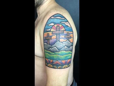 Stained Glass  Religious  Color  Cross   Color Arm