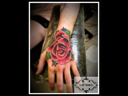 Traditional Style  Rose  Traditional Rose  Hand Tattoo Color Arm