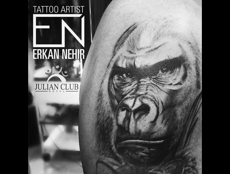 Tattoo  Tattoos  Silverback  Gorilla  Animal  Realism  Monkey  Erkan  Nehir Black Grey Shoulder