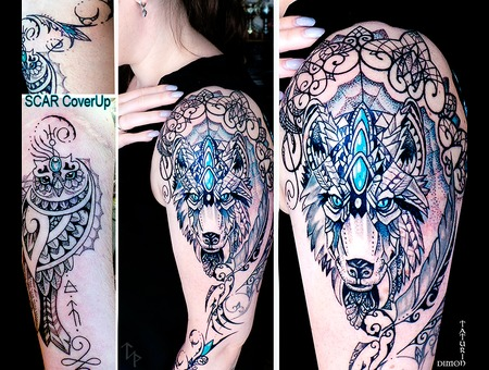 Scar Cover Up By Dimon Taturin Black Grey Arm