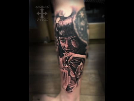 Pulp Fiction  Jammestattoo Portraiit Realistic Tattoo Black Grey Lower Leg