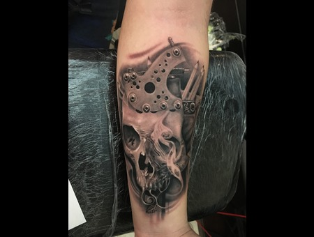 Skull   Coil  Tattoo Machine Black Grey Forearm