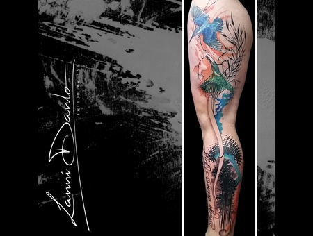 Leg  Abstract  Bird  Birds  Forest  Tree  Text  Watercolor Color Thigh