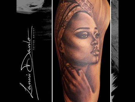 Portrait  Girl  Africa  Queen  Beautiful  Realistic  Dotwork Black Grey Arm