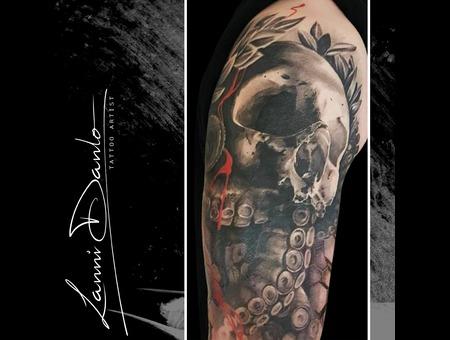 Skull  Tentacles  Octopus  Watercolor  Abstract  Realistic  Dark  Portrait Black Grey Arm