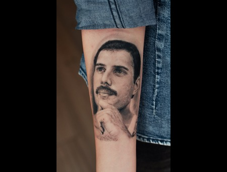 Freddie Mercury Portrait Black And Grey Black Grey Forearm