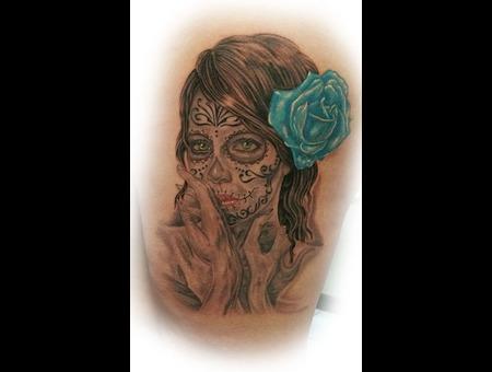 Day Of The Dead  Dios De Los Muertos  Face  Feminine Black Grey Thigh