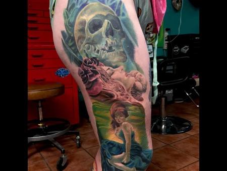 Skull  Beautiful  Dallas  Texas  Inked  Texas Tattoo  Dfw  Dallas Tattoo Color Thigh
