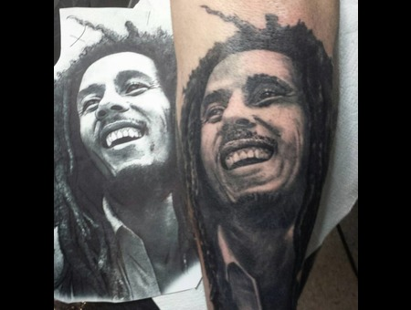 Bob Marley  Portrait Black Grey Forearm