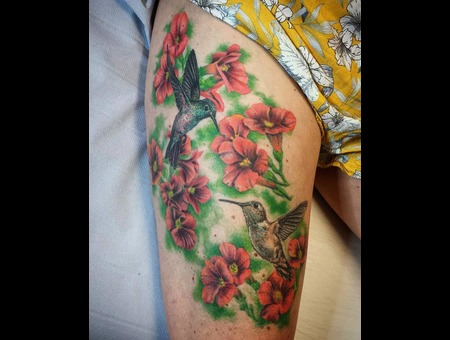 Colour Tattoo  Girly Tattoo  Flower  Humingird Color Thigh
