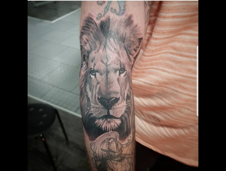 Lion  Realistic  Black And Grey Black Grey Arm
