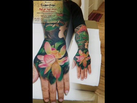 Hanya  Morden Art   Flowers  Realisitic  Lotus  Watercolour  Asian Color Forearm