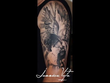 Angel  Swing  Wings  Girl Black Grey Arm