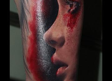portrait, makeup, woman, red,
