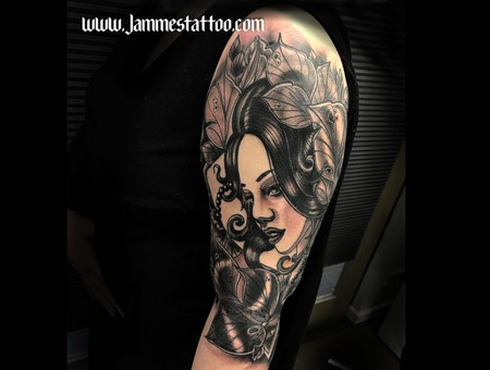 Girl In The Leaf  Tattoo Neotraditional Black Grey Arm