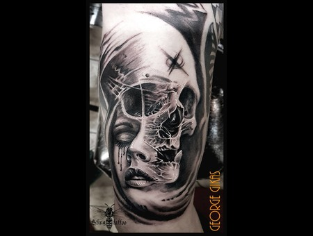 Skull  Portrat  Face Black Grey Arm