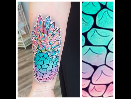 Color  Pineapple  Crystals  Pearls  Neon Color Forearm