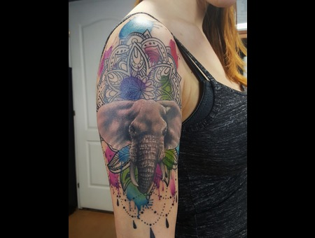 Watercolor Elephant Color Arm