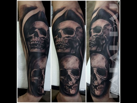 Black And Gray  Realism  Skulls  Contrast Black Grey Forearm