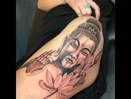 Buddha  Asian  Black Grey Hip