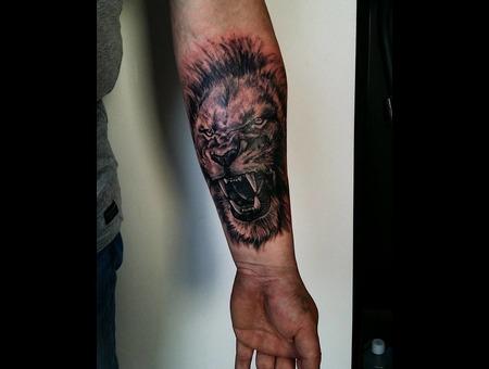 Lion Realism. #Inkandarttattoo Ink & Art Tattoo Shop Black Grey Arm