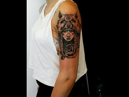 Native  Girl Tattoo. #Inkandarttattoo Black Grey Shoulder
