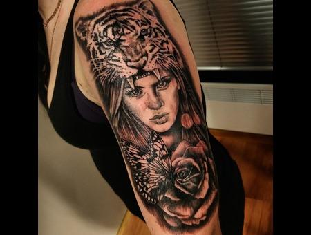 Tiger  Portrait Tattoo. #Inkandarttattoo Ink & Art Tattoo Shop Color