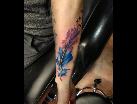Watercolor Feather. #Inkandarttattoo Ink & Art Tattoo Shop Color Arm