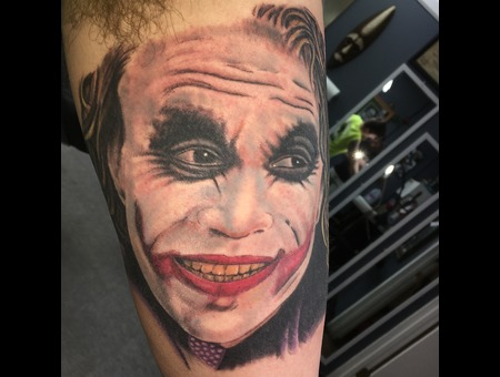 Joker  Color Portrait  Heath Ledger  Batman  Wisconsin  Tattoo  Artist   Color Arm