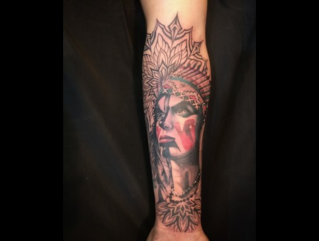 Color Tattoo  Portrait  Mandala  Traditional  Realism  Redindia  Color Forearm