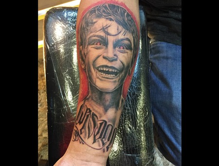 Surreal  Realistic  Portrait  Lettering  Black And Grey  Black Grey Forearm