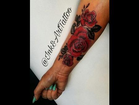 Rose Tattoo. #Inkandarttattoo Ink & Art Tattoo Shop Color Arm