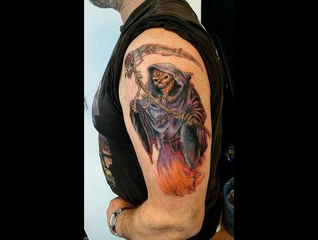 Reaper Color Tattoo. #Inkandarttattoo Color Shoulder