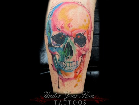 Watercolor Skull Tattoo Color Lower Leg