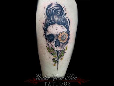 Flower Skull Lower Leg
