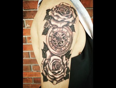 Black And Grey Tattoo  Rose Tattoo  Clock Tattoo  Realism Tattoo  Black Grey Arm