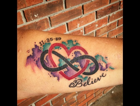 Watercolor Tattoo  Infinity Tattoo  Script Tattoo  Color Forearm