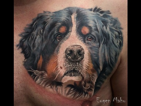 Tattoo  Realistic  Dog  Art Color Chest
